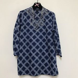 Brooks Brothers Beaded Tunic Top Blue L